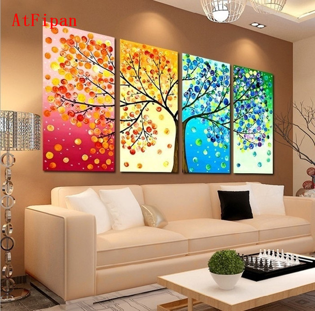 AtFipan Unframed Wall Art Colourful Leaf Trees Canvas Painting For Living  Room Vintage Modular Paintings On