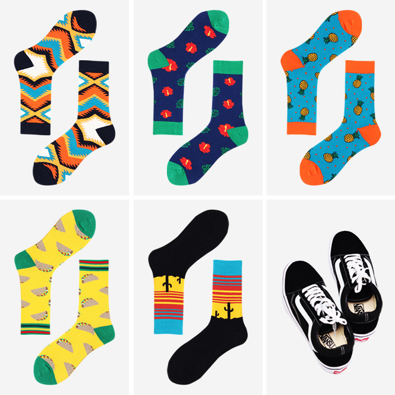 1 Pairs New Arrivals Mens Funny Colorful Combed Cotton Socks 5 Colors Fashions Casual Happy Socks Dress Fruit Weed Socks