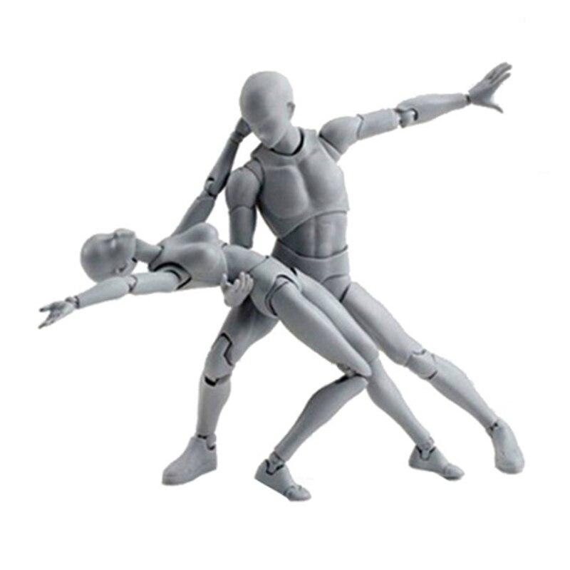15cm Female/Male Cartoon Painting Action Figure Kids Drawing Model Gadgets PVC SHE HE Body Kun Body Chan Figure Kids Gift Toys