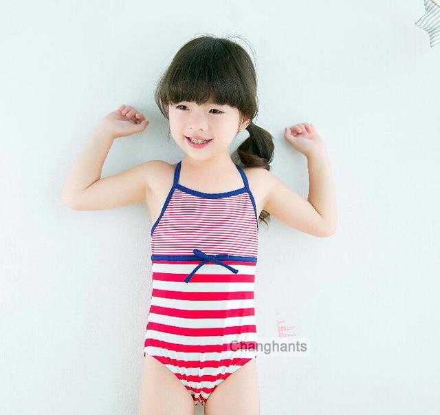 dd721c488c3 Kids One Piece Swimsuit Baby Girls Swimwear Red Striped Pattern 2-7 Y  Children Swimming