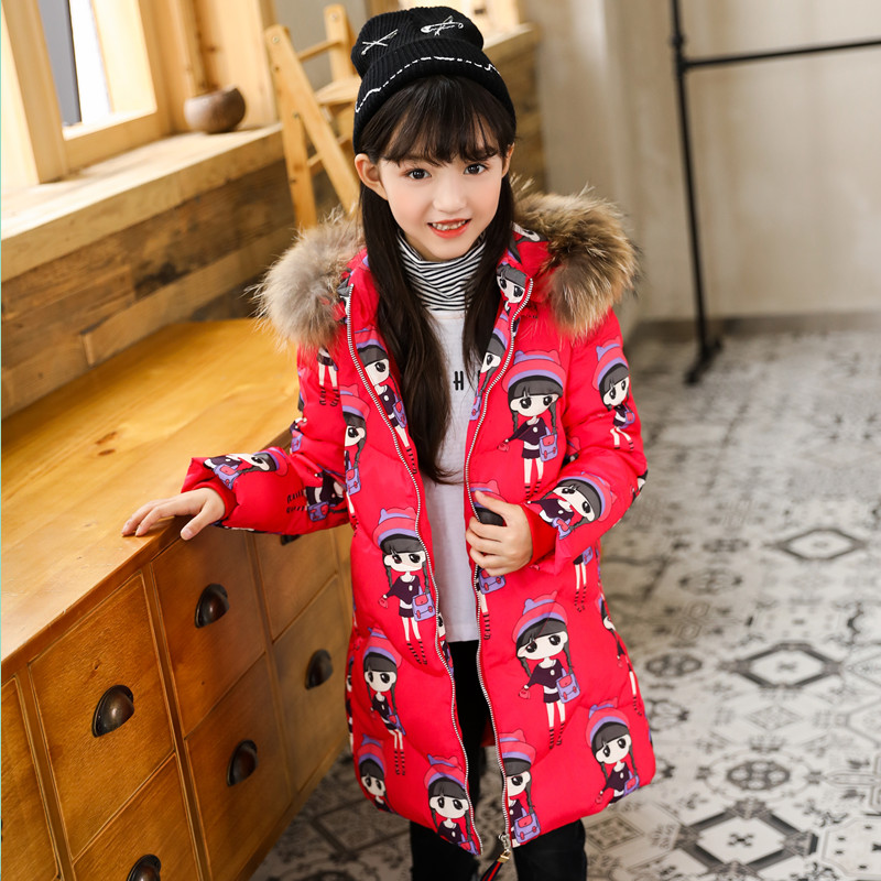 HSSCZL Girls Down Jackets Winter New Children's clothing Long Girl Down Jacket Outerwear Overcoat Coat thickening hooded 3-8age girls down coats girl winter collar hooded outerwear coat children down jackets childrens thickening jacket cold winter 3 13y