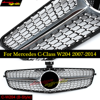 For MercedesMB w204 Diamond Front grille Sports ABS silver C Class C180 C200 C250 C300 C350 C63 look grills without sign 2007 14