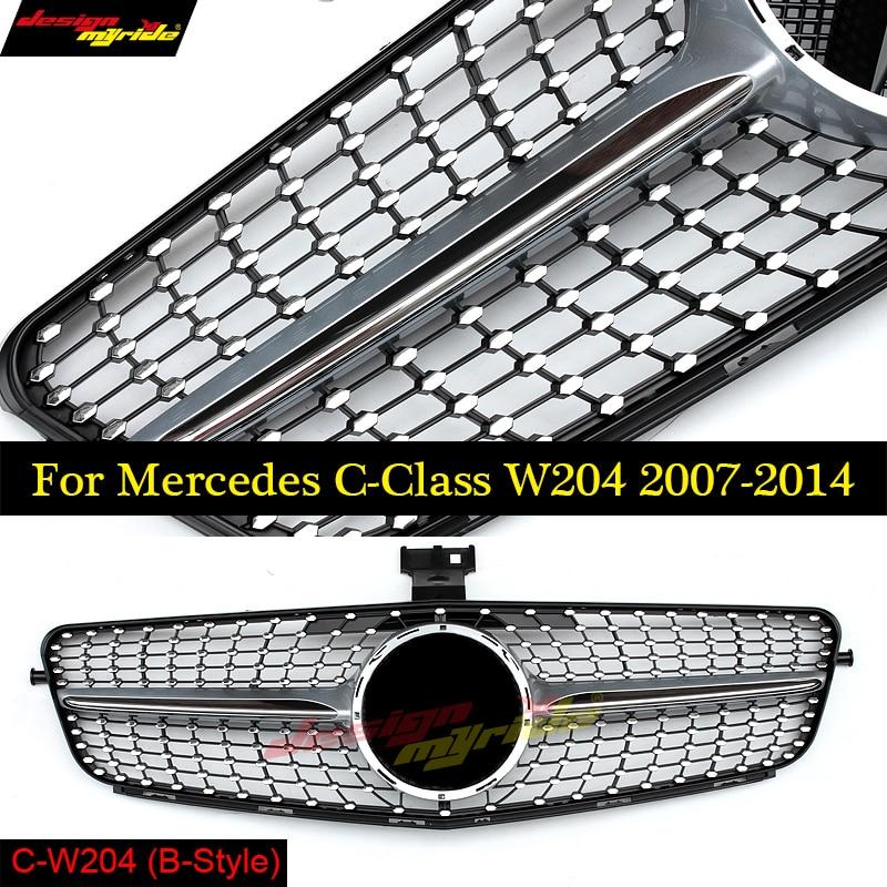 For mercedes Benz w204 diamond grille vorderen racing grille Silver for benz c180 c200 c220 c260 c300 silber schwarz 2007 2014