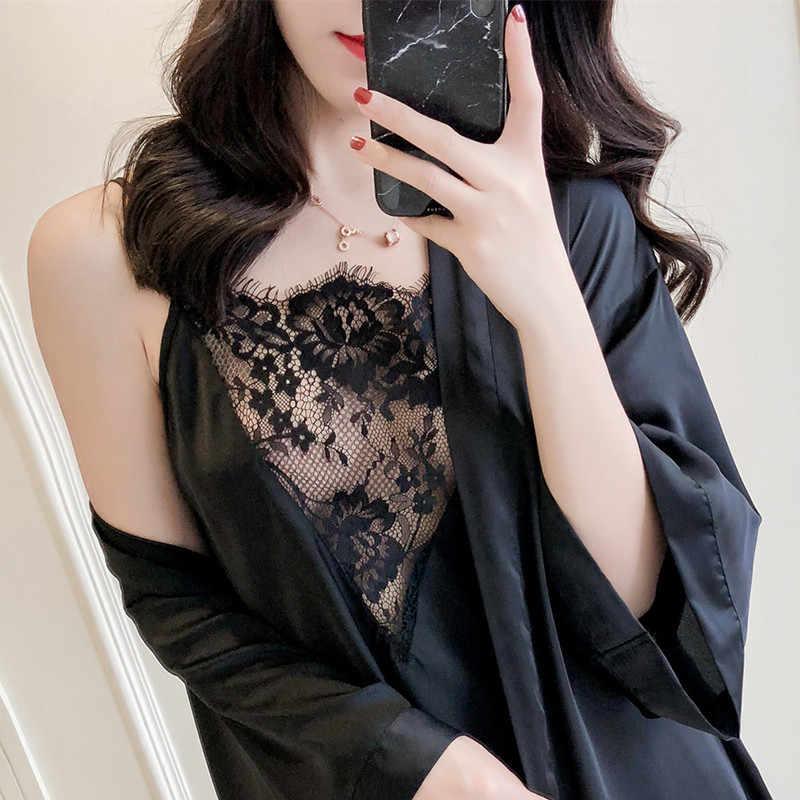 QWEEK шелковые пижамы, женские пижамы, комплекты из 3 предметов, женское белье, атласная одежда для сна, кружевной топ с v-образным вырезом, Женская пижама, Женская домашняя одежда