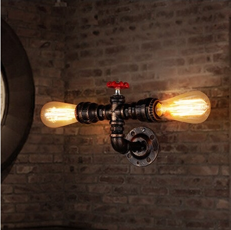IWHD Water Pipe Loft Industrial Vintage LED Wall Lamp Iron Water Pipe Wall Lights Wall S ...