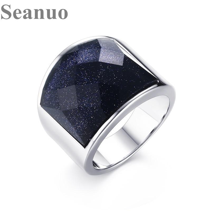 Seanuo Aço Inoxidável Mens Anéis De Noivado Do Vintage Grande Pedra Azul para Os Homens de Moda Masculina de Jóias anel masculino Tamanho EUA 8 -12