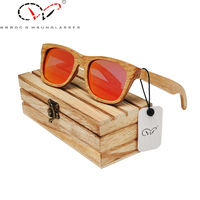 2015 New Style Bamboo Wood Sunglasses Women Red Mirror Lens Skateboard Temple Fashion Wooden Glasses Sunglasses