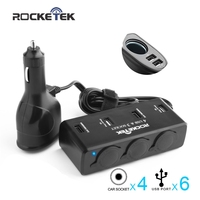 Rocketek Usb Car Charger With 6 USB 9 1A Ports And 4 Sockets Cigarette Adapter Splitter