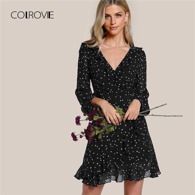 61d95a17b3 COLROVIE Black Galaxy Flutter Sleeve Frilled Surplice Wrap V Neck Ruffle  Sweet Date Dress Autumn Shift Vacation Women Dresses