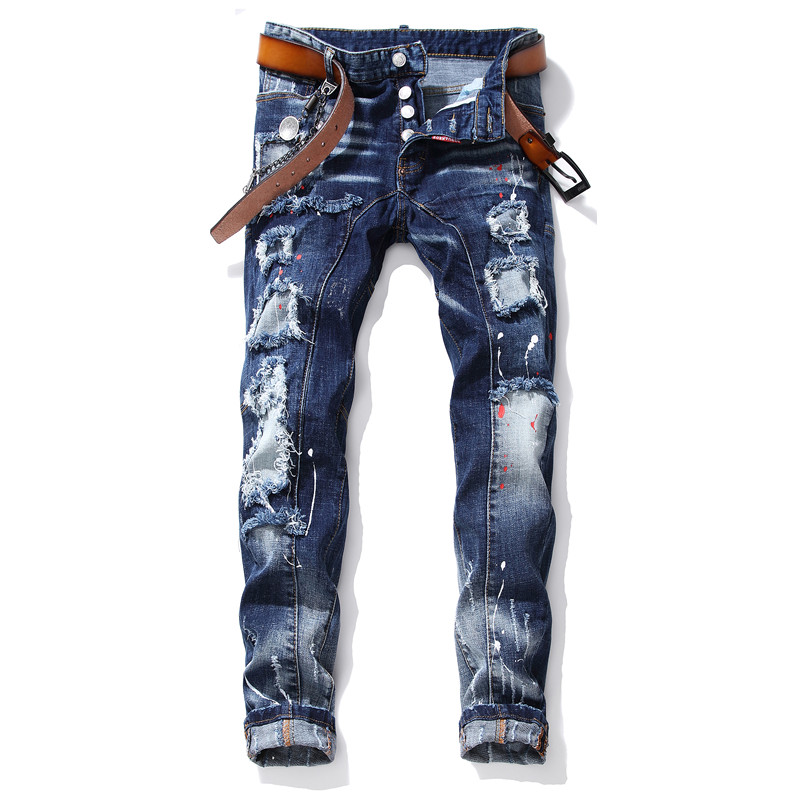 New Mens Jeans Stretch Ripped Skinny Jeans Men Blue Paint Pants Male Trousers Clothes Streetwear Spring Autumn Winter Hip Hop