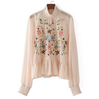 New Women Spring Autumn Blusa Long Sleeve Elastic Cuffs Back Buttoned Opening Casual Blouse Femme