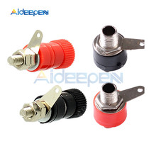 2Pcs/lot JS-910B 4mm Banana Socket Nickel Plated Binding Post Nut Banana Plug Jack Connector For Speaker Audio Red + Black(China)
