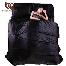 Beddingoutlet seda ropa de cama de sábanas de satén de algodón edredón de color negro sólido satén Duvet Cover Set King Size Bedsheet 4 unids de ropa de Cama conjuntos