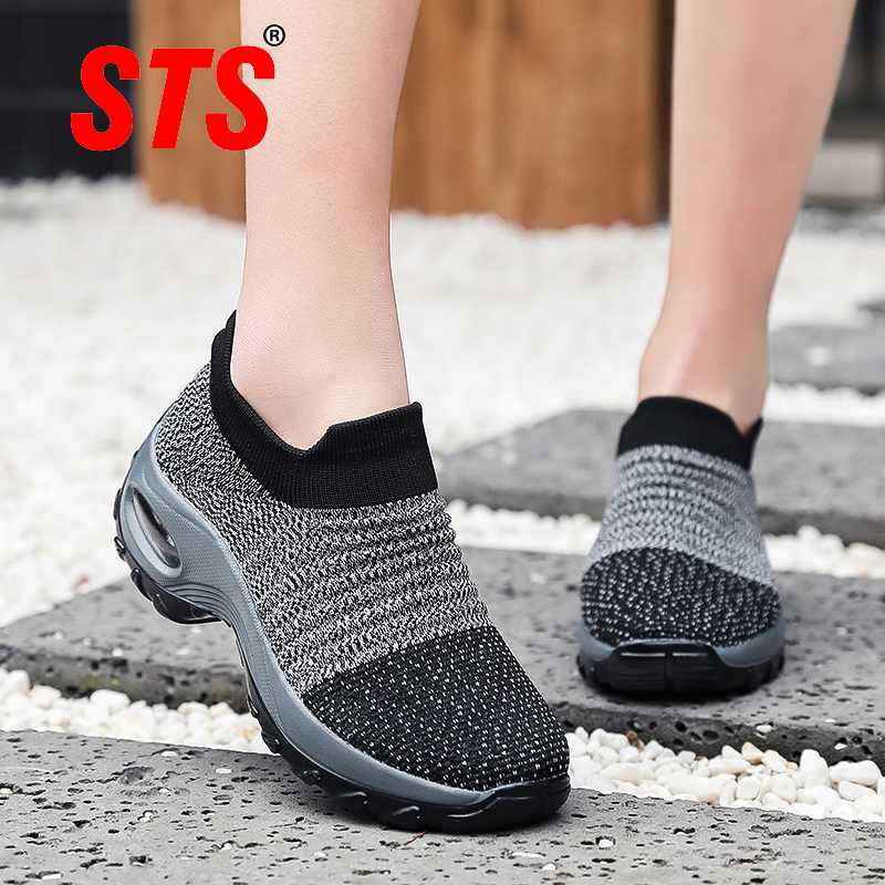STS women shoes flat slip on platform sneakers for women breathable mesh sock tennis lady shoes outdoor walking woman sneakers