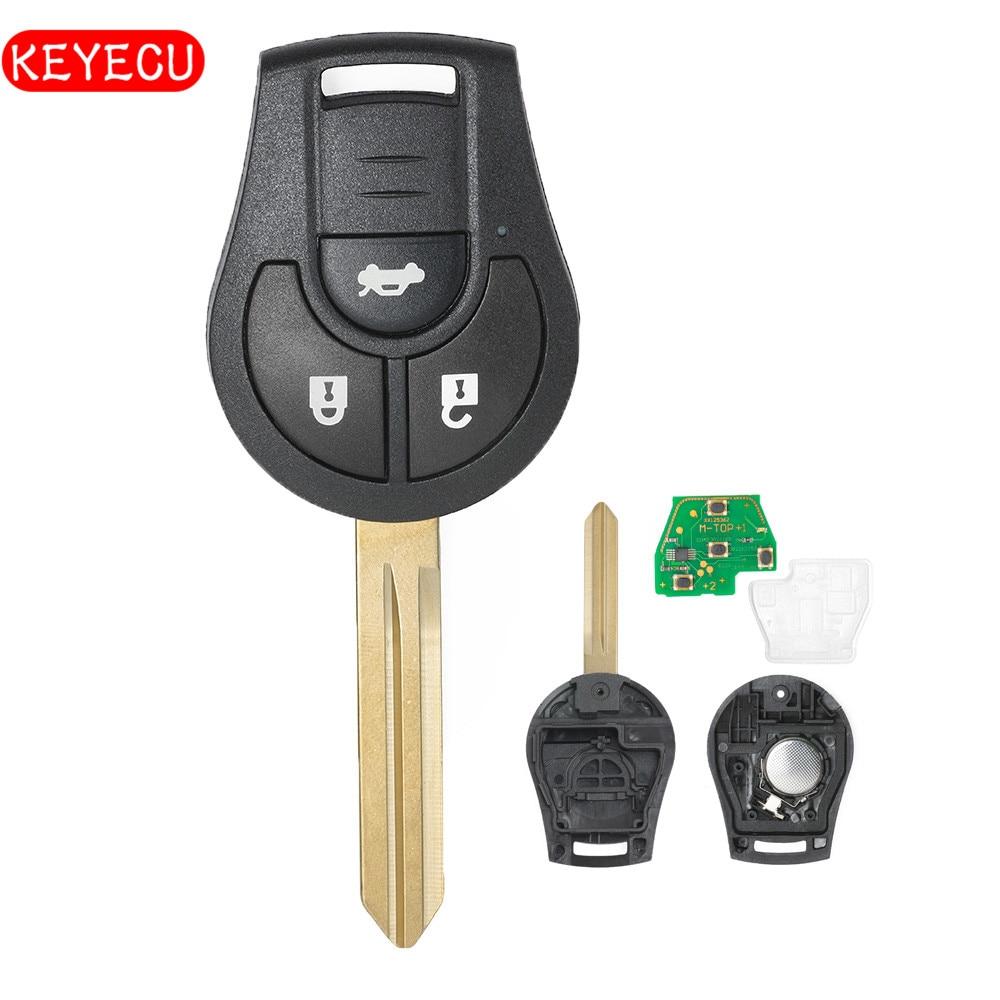 Keyecu Remote Key Fob 3 Button 315MHz/ 433MHz ID46 Chip for Nissan Note Juke Micra FCC: CWTWB1U761