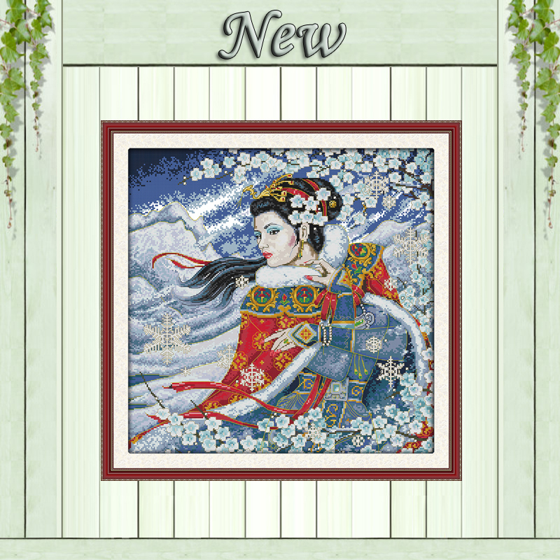Electronic Components & Supplies Top Quality Lovely Hot Sell Counted Cross Stitch Kit Beautiful Pretty Woman Lady Girl In Winter Snow Plum Blossom Latest Fashion