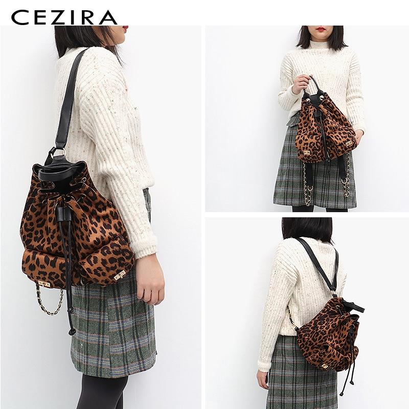 CEZIRA nouveau Designer Style femmes léopard sac à dos fille mode école sac à dos vacances voyage sac cordon épaule sacs à dos - 3