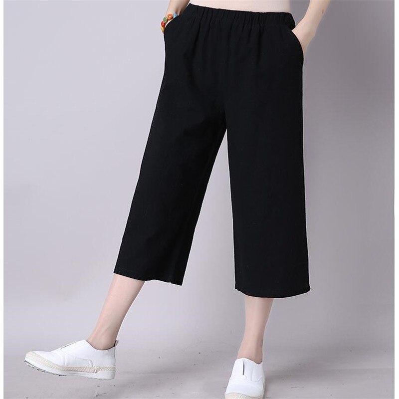 Summer Trousers Fashion Cotton Linen Cool Woman   Pants   Loose Elastic High Waist   Wide     Leg     Pants   2019 Plus Size M-7XL Street   Pants