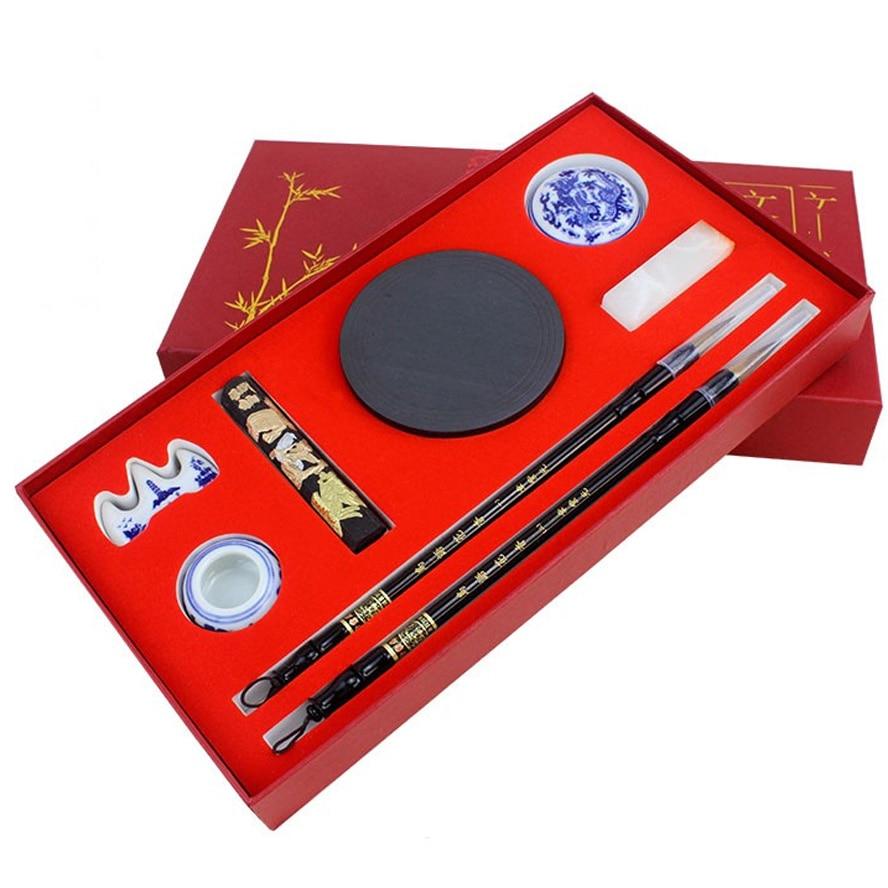 все цены на Art Set Calligraphy Brushes set Brush ink stone Stamp Seal inkPad for practice calligraphy beginner Starter Kit