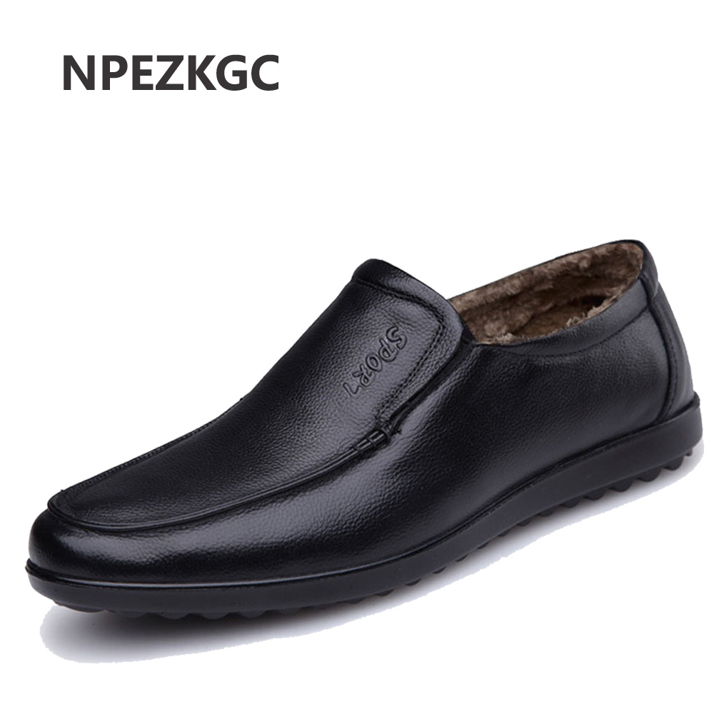 NPEZKGC New Winter Men Leather Shoes Casual Men Loafers Flats Shoes Moccasins Men s Loafers Genuine