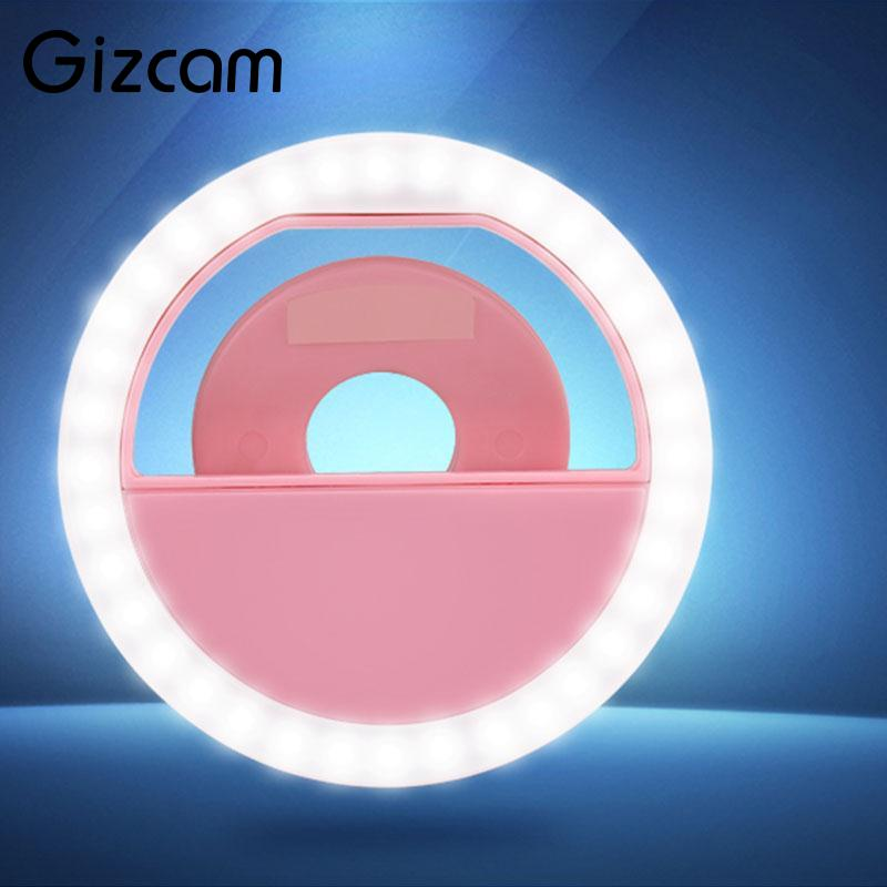 Gizcam Universal USB Selfie Fill Light Flash Ring LED Bulb Clip Camera Photography Photo for Smart Mobile Phone Bright Portable