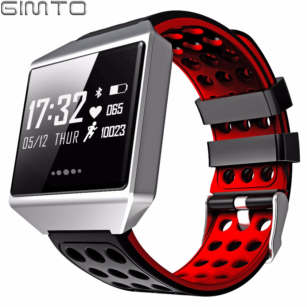 GIMTO Brand Sport Smart Bracelet Watch Women Men Waterproof Stopwatch Heart Rate Blood Pressure Oxygen Calories For iOS Android gimto sport smart bracelet watch outdoor clock waterproof stopwatch heart rate monitor blood pressure pedometer for ios android