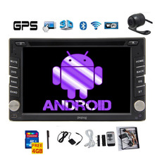 "Free Cam+ Android 6.2"" 2 din GPS Navigation Car DVD CD Player HD Capacitive Mulit-touchScreen Car Stereo Audio Radio+BT+ WiFi"
