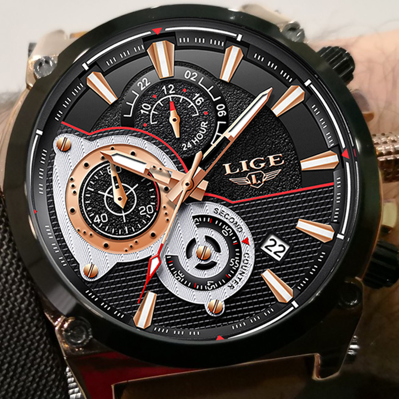 LIGE Top Luxury Brand Men's Sport Quartz Watch Brown Leather Men Watches Dress Business Casual Fashion Big Dial Black Male Clock цена