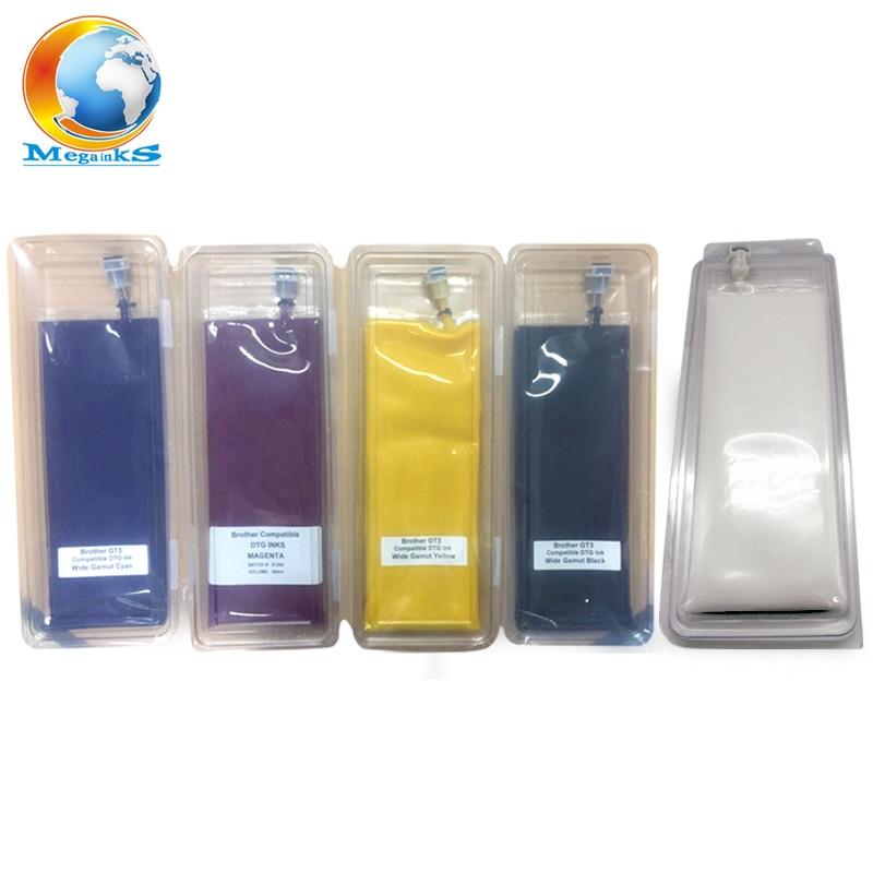 5 Bag 380ML DTG Textile Ink for Brother GT-3 Series GT-341 GT-361 GT-381 GT 341 361 381 Digital Inkjet Printer White Black C M Y ginzzu gt x770 v2 lte 8gb white