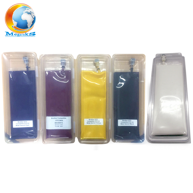 c0a0c527b 5 Bag 380ML DTG Textile Ink for Brother GT-3 Series GT-341 GT-361 GT-381 GT  341 361 381 Digital Inkjet Printer White Black C M Y