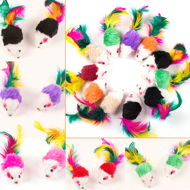 10 Piece Fake Colourful Mouse Cat Toy