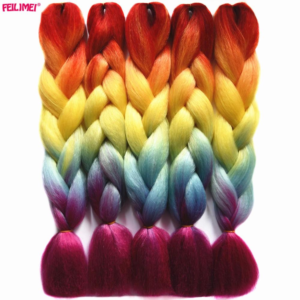 Feilimei Ombre Braiding Hair Extensions Synthetic Japanese Fiber Jumbo Braids 24 Inch 100g/pc Pink Gray Crochet Hair Bundles