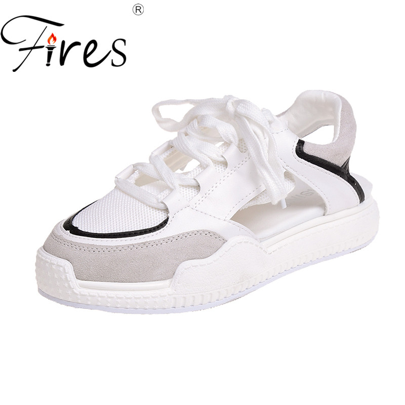 Fires Female Shoes Platform Sandalias Comfortable Fashion Summer Ladies Mesh Casual Lace-Up
