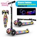 Infant Glänzende Kind Roller 2-16Y Höhe Einstellbare Faltbare Kinder Balance Fahrrad Licht-Baby Fahrt auf Spielzeug Geschenk für Jungen mädchen