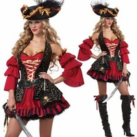 New Cosplay Dress Party Queen Witch Christmas Masquerade Costume Party Dress Uniforms Lady Pirates Performance Clothing