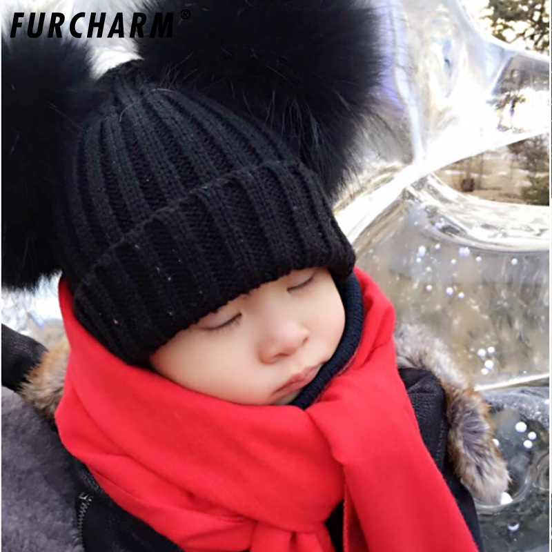 Baby hat Children Winter Raccoon Fox Fur Hat Girls Boys 100% Real Fur pompoms Ball Baby Beanies Cap Crochet Kids Knitted Hats new star spring cotton baby hat for 6 months 2 years with fluffy raccoon fox fur pom poms touca kids caps for boys and girls