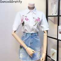 New Summer Fashion Women's Embroidery Birds Sequined Runway Set Turn down Collar Shirt + Hole Denim Skirts Suits Crop Top