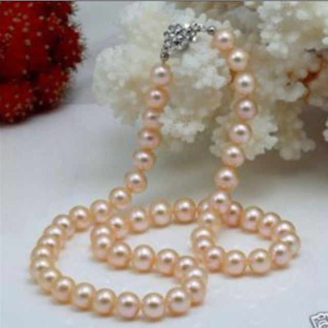 "women 2015 high quality Charming!Natural 8-9mm Pink Akoya Pearl Necklace 17.5"" Wholesale and retail"