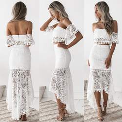 2 PCS Set Lace Tube Top Sexy Strapless Pullovers Women Clothes Maxi Skirt Off Shoulder Backless Zip Fit Flare Hollow Wedding