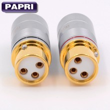 High end 3 pin XLR jack Female Gold Plated Balance socket connector Audio 2PCS