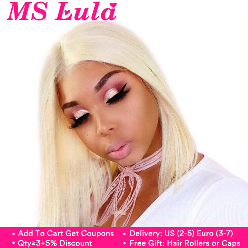 Ms Lula 613 Blonde 1b Ombre Short Bob Lace Front Wig Pre plucked With Baby Hair Straight Human Remy Frontal Wigs Nature Color(China)