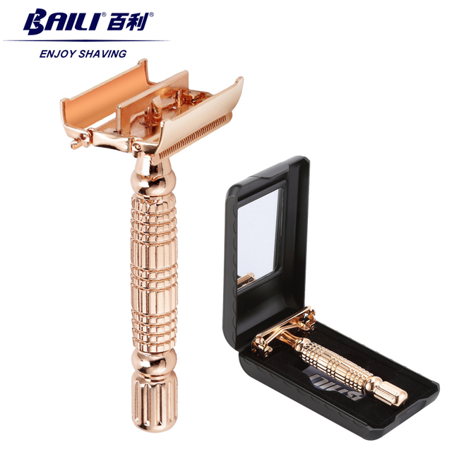 BAILI Twist Butterfly Open Classic Double Edge Blade Safety Shaving Razor Shaver Handle Holder +Blade +Mirror Case BD177