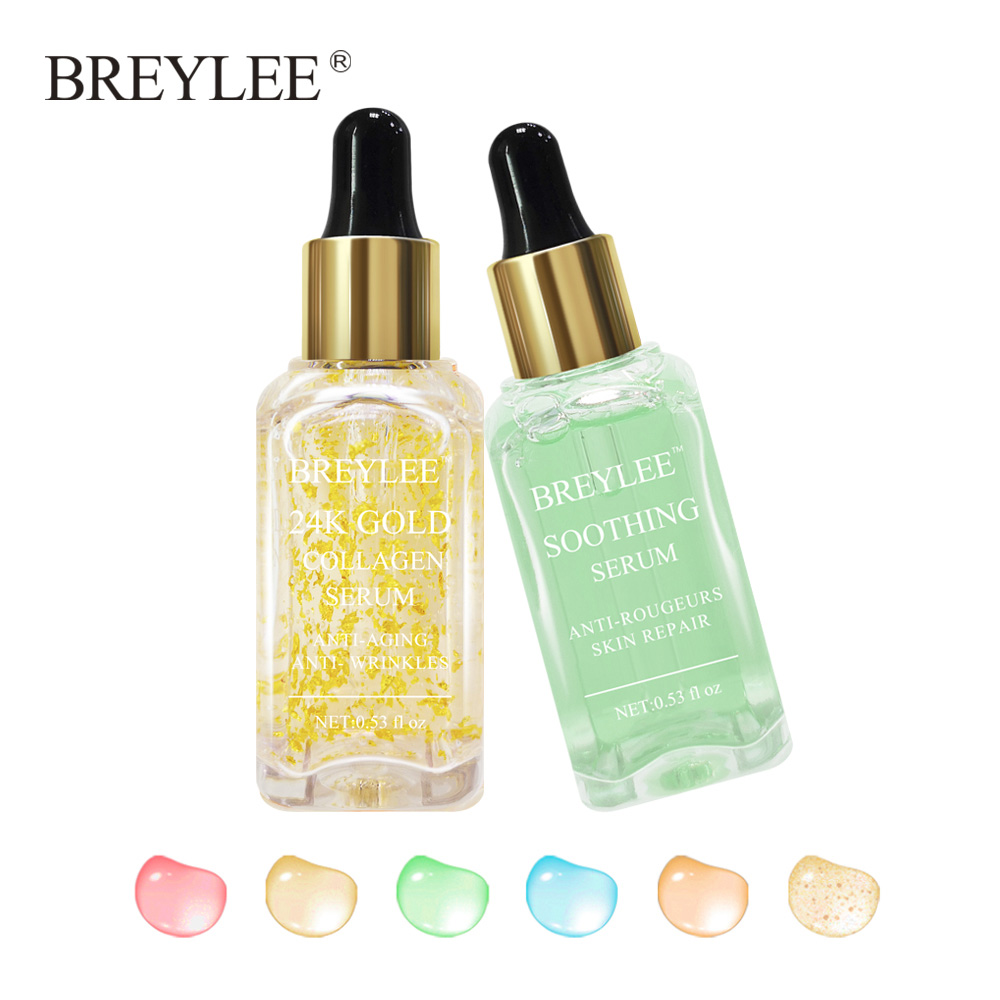 BREYLEE 2pcs 24k Gold Serum Collagen Lifting Firming Face Skin Care Collagen Whitening Anti-aging Wrinkle Moisturizing Essence new gold collagen elastin serum anti wrinkle aging moisturizing serum acne treatment whitening face ageless beauty skin care
