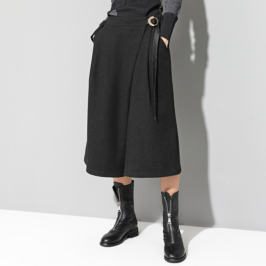 Harajuku Fashion Calf-length   Pants  +skirt 2set Women Trousers Autumn Winter New Casual   Pants   Thickening   Wide     Leg     Pants