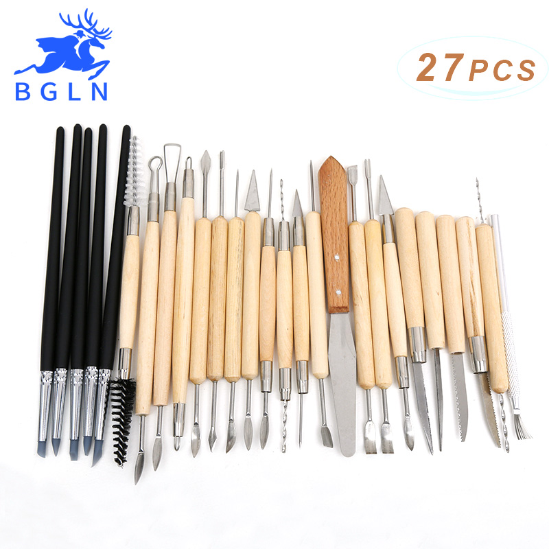 BGLN 27pcs Silicone Rubber Shapers Pottery Clay Sculpture Carving Modeling Pottery Hobby Tools цена