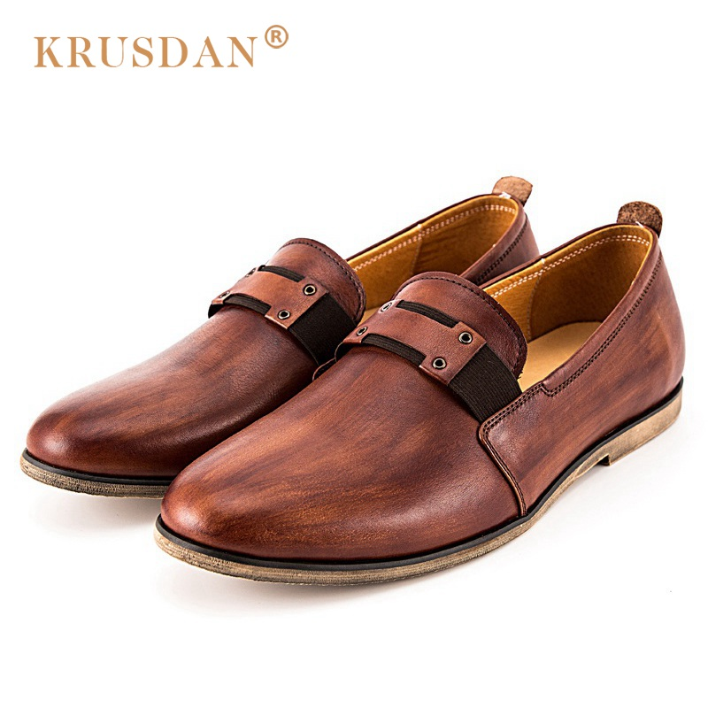 KRUSDAN New Vintage Man Casual Shoes Genuine Leather Male Handmade Loafers Round Toe Slip On Men's Wedding Party Flats man casual soft loafers cow genuine leather new driviers shoes vintage slip on men sapatos masculinos flat creepers shoes casual