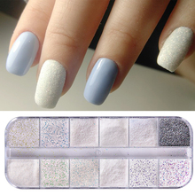 1 Case Nail Art Glitter Sugar Powder Mermaid Sandy Coating Flakes Sequins 12 Grid Design Decoration For Nails Manicure Tool TRTY