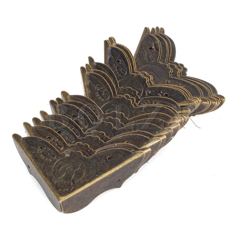 BQLZR 20pcs Bronze Box Corner Protector Edge Cover For Desk 45x13mm Elegant Shape