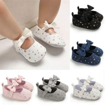 ¡Oferta! Zapatos de cuna para bebé niña, zapatos con estampado de estrellas para recién nacidos, zapatos de verano con lazo y suela para bebés