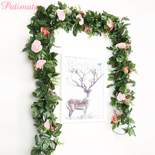 PATIMATE 2.6Y Artificial Flowers Wedding Party Decorations Silk Rose Garland For Home Wall Decor Fake Flower Plant Ornament